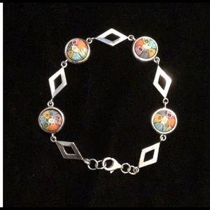 🆕 Murano Millefiori Round silver bracelet.